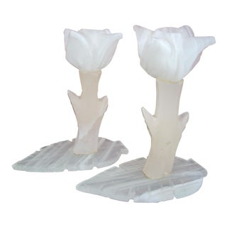 White Onyx Candlesticks - A Pair For Sale