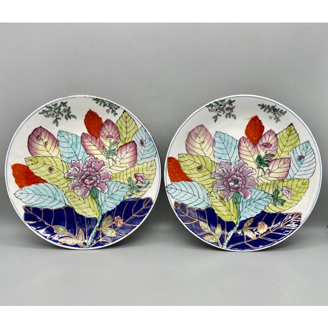 20th Century Chinese Tobacco Leaf Pattern Plates - a Pair For Sale - Image 10 of 10