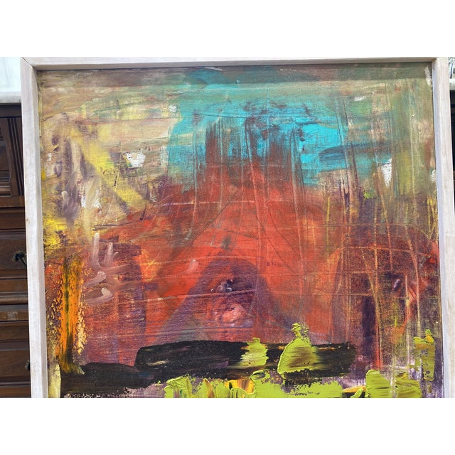 1980s Late 20th Century Abstract Expressionist Oil Painting, Framed For Sale - Image 5 of 9