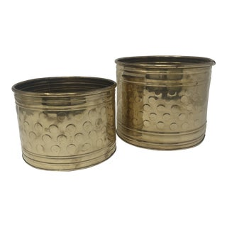Pair of Mid Century Polka-Dot Brass Planters For Sale
