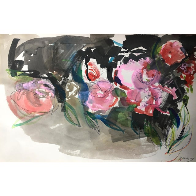 Jenny Vorwaller Red Roses Watercolor Painting - Image 1 of 4