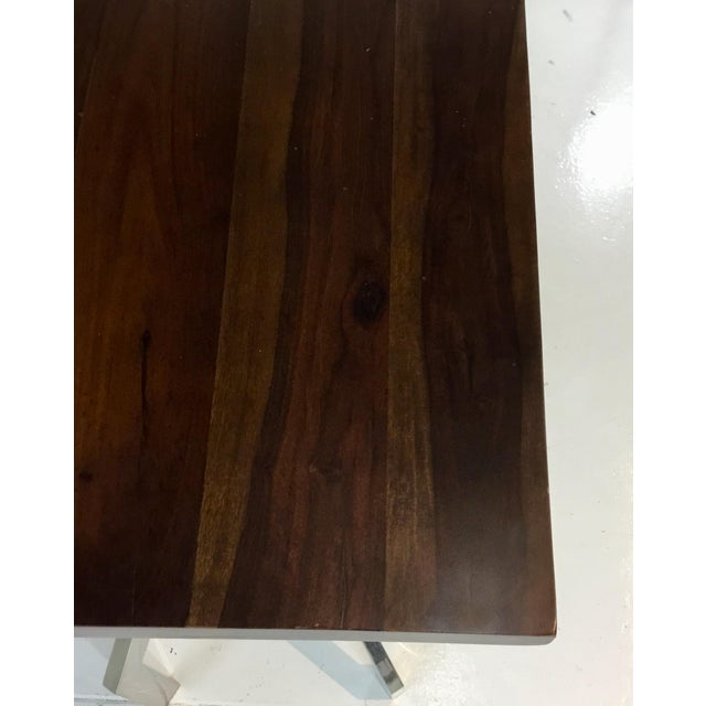 Abstract Modern Dark Wood and Chrome Abstract Double Pedestal Console Table For Sale - Image 3 of 5