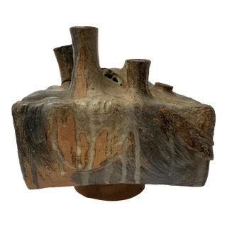 Brutalist Ceramic Sculpture Weed Pot Vessel Ikebana Vase For Sale