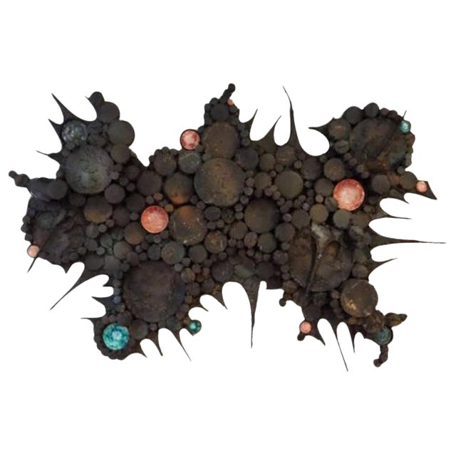 Large Scaled Mid-Century Wall Sculpture in Blackened Steel and Ceramic, France circa 1965 For Sale