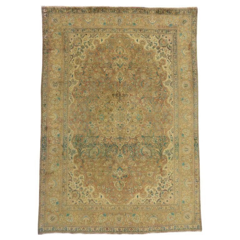 Vintage Persian Tabriz Area Rug With Arts Craft Style 8 5 12