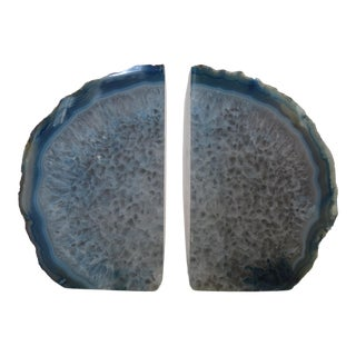 Indigo Blue Crystal Rock Geode Bookends - a Pair For Sale