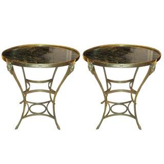 Exquisite Pair of Marble Top Bronze Tables For Sale