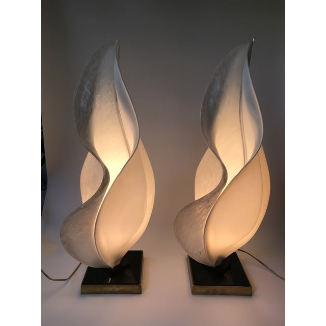 Pair of unique free-form table lamp made by Rougier. These lamps have a combination of solid white and pearl white acrylic...