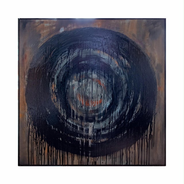 Mixed media with oil, oil pastel, colored pencil on canvas. Simple black flush frame by the artist. Entirely self-taught,...