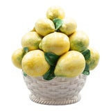Image of Vintage Italian Majolica Lemons Basket Topiary Centerpiece For Sale