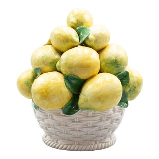 Vintage Italian Majolica Lemons Basket Topiary Centerpiece For Sale