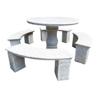 Circular Marble Dining Table With Benches For Sale