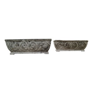 Antique Footed Concrete Rococo Style Planters - a Pair