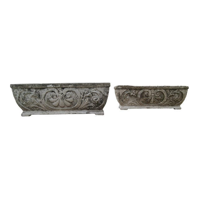 Antique Footed Concrete Rococo Style Planters - a Pair For Sale