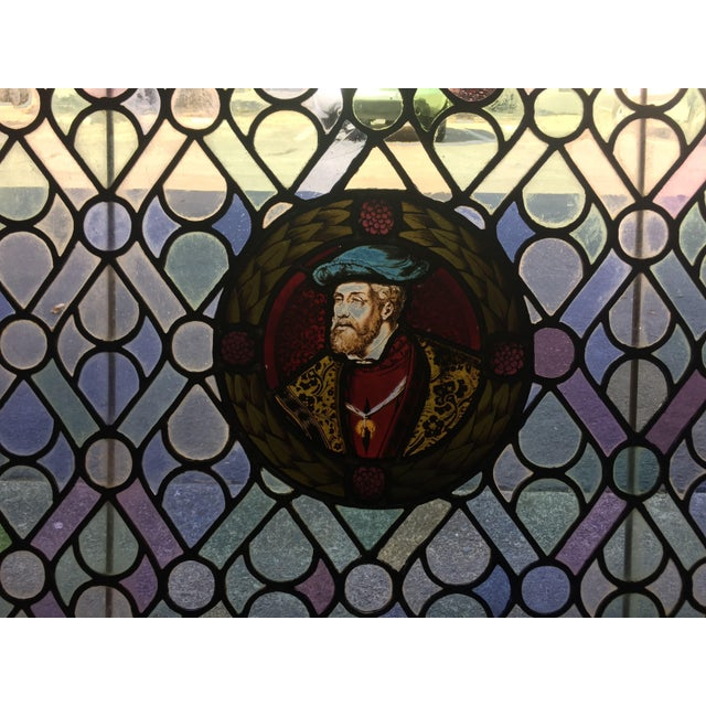 Antique Gothic Stained Glass Panels- a Pair For Sale - Image 9 of 12
