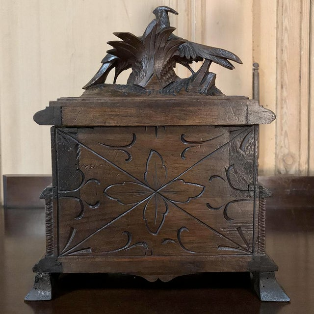 Jewelry Box, 19th Century French Hand-Carved Walnut For Sale - Image 11 of 12