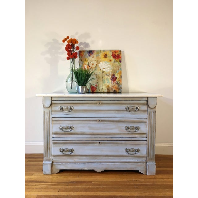Baby Blue Marble Top Dresser - Image 6 of 6