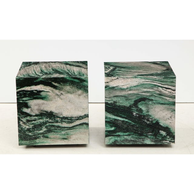 Early 21st Century Polar Verde Marble Cubes or Side Tables - a Pair For Sale - Image 5 of 11