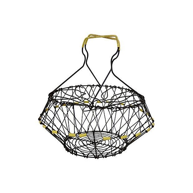 French collapsible metal wire egg basket. Convertible to use as a bowl or cake stand. No maker's mark. Light wear.