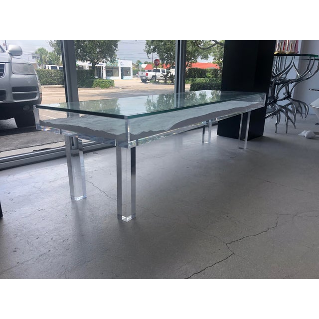 1970s Mid-Century Modern Lucite & Sliding Glass Cocktail Table For Sale - Image 10 of 11