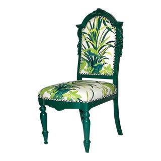 Vintage Green Side Chair With Tropical Foliage Design and Black and White Checkered Back For Sale