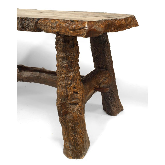 Rustic American Adirondack Style, Walnut Top Dining Table For Sale - Image 4 of 7