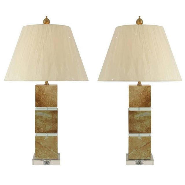 Restored Pair of Modern Lamps in Jade and Crystal For Sale - Image 10 of 10