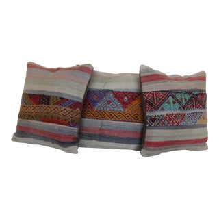 Boho Chic Rug Pillow Covers - Set of 3 For Sale