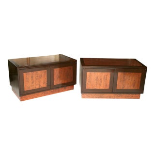 Rare Pair of Walnut and Copper Wall Hung Credenzas by Renzo Rotili For Sale