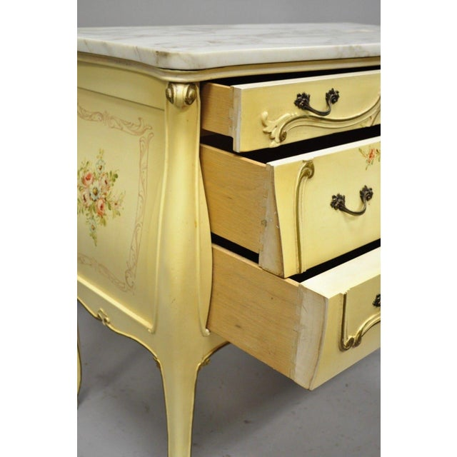 Cream Floral Painted Marble Top Commode For Sale - Image 9 of 11