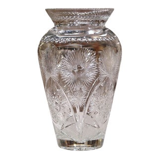 Large 20th Century European Cut Glass Vase With Flowers Signed by Artist