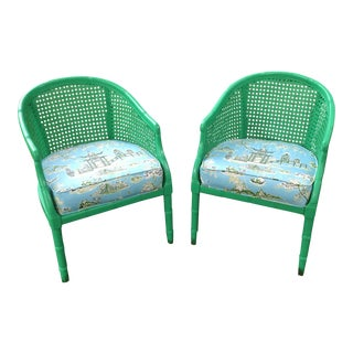 Vintage Faux Bamboo Cane Barrel Back Pagoda Chairs - A Pair