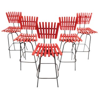 Arthur Umanoff Mid-Century Swivel Bar Stools - Set of 5