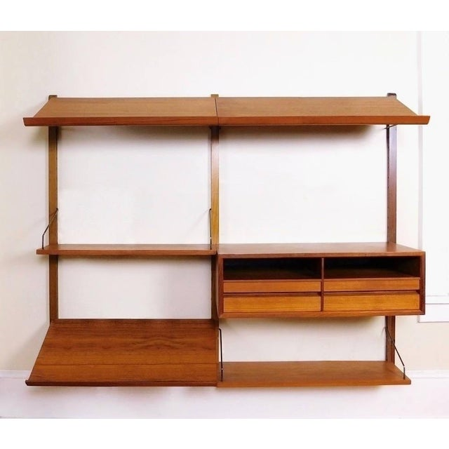 Danish Modern Teak Floating Adjustable Desk Wall Unit Bookcase by Carlo Jensen for Hundevad & Co For Sale - Image 9 of 9