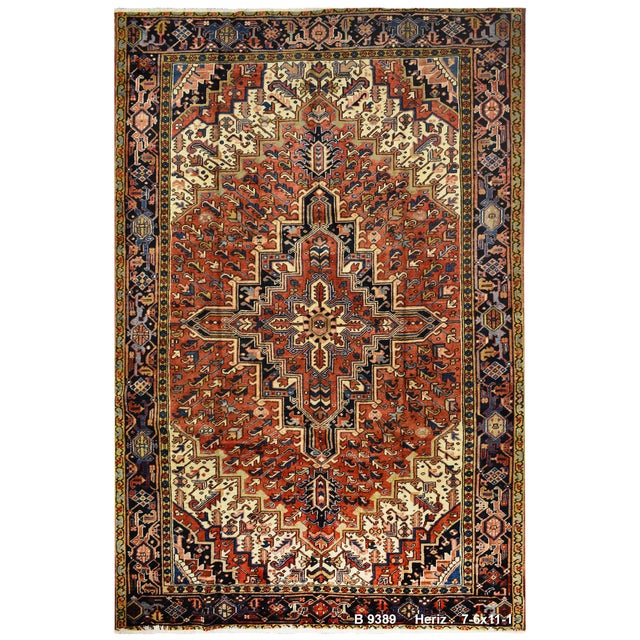 Vintage Handmade Persian Heriz Rug - 7'6''x11'1'' For Sale