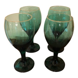 1970s Boho Chic Emerald Green Gold Rimmed Goblet Drinking Glasses - Set of 4