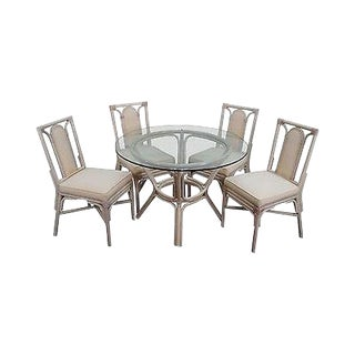 Rattan Bamboo Round Glass Top Dining Table & 4 Chair Set For Sale