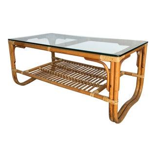 1960s Boho Chic Albini Style Rattan Bamboo Coffee Table