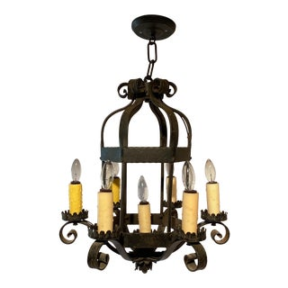 Antique Spanish Wrought Iron Chandelier For Sale