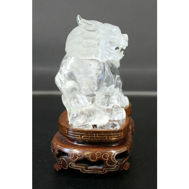 Mid 20th Century Chinese Rock Crystal Glass Fu Dog Statuette Wood Base Table Sculpture For Sale - Image 5 of 11