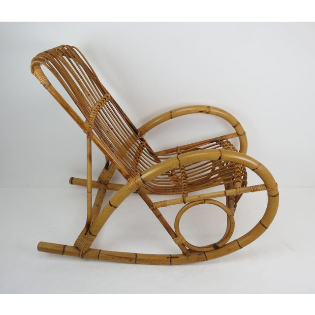 Boho Chic Vintage Franco Albini Style Bamboo Rocking Chair For Sale - Image 3 of 13