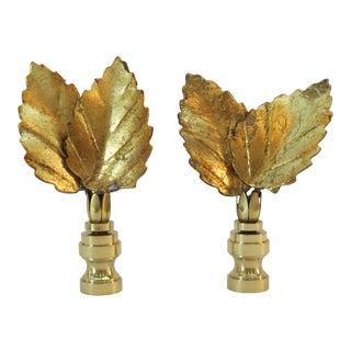 Vintage Italian Gilt Tole Leaf Finials by C. Damien Fox, a Pair. For Sale