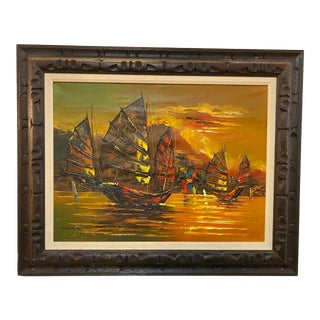Sailboat Oil Painting by Chung For Sale
