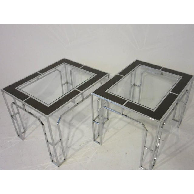 Silver Milo Baughman Chrome Glass and Wood Side Tables - a pair For Sale - Image 8 of 9