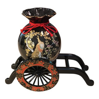 Japanese Peacock Vase With Wagon For Sale