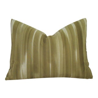 Olive Brushed Stripe Japanese Kimono Lumbar Pillow Cover For Sale