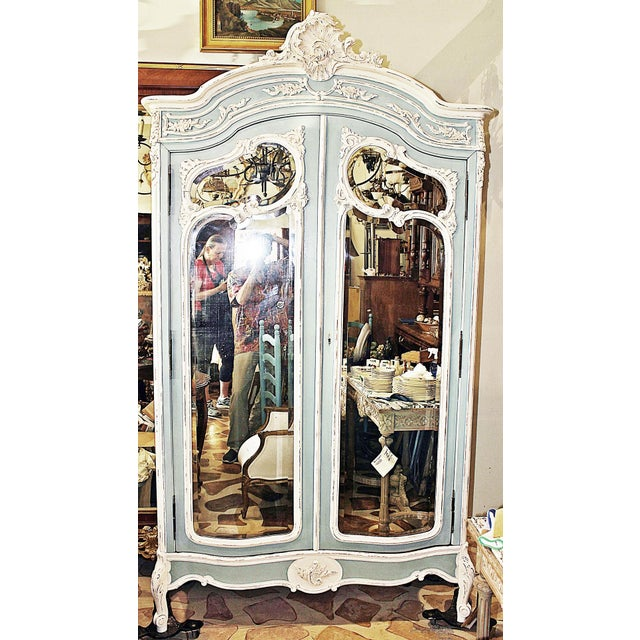 19th Century French Country Painted Armoire For Sale - Image 13 of 13