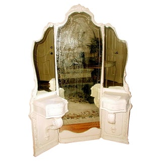 Antique 19th C French Tri-Fold Mirrored Vanity