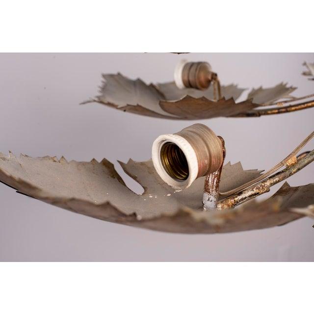 1970s Spanish Gilt Metal Leaf Form Five Light Hanging Fixture For Sale - Image 5 of 13