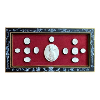 19th Century Italian Grand Tour Plaster Intaglios in Handpainted Frame For Sale